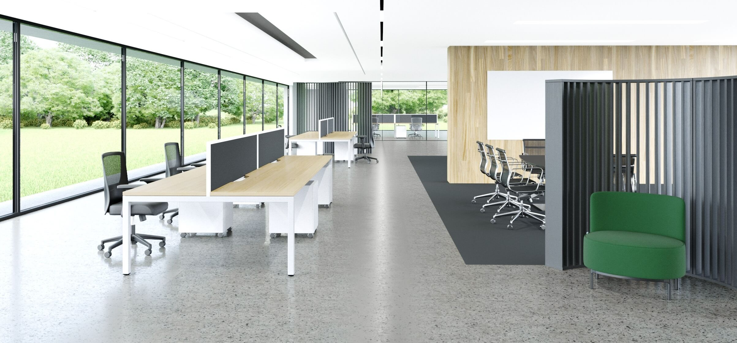 Cube Desk Clusters With Fabric Screens