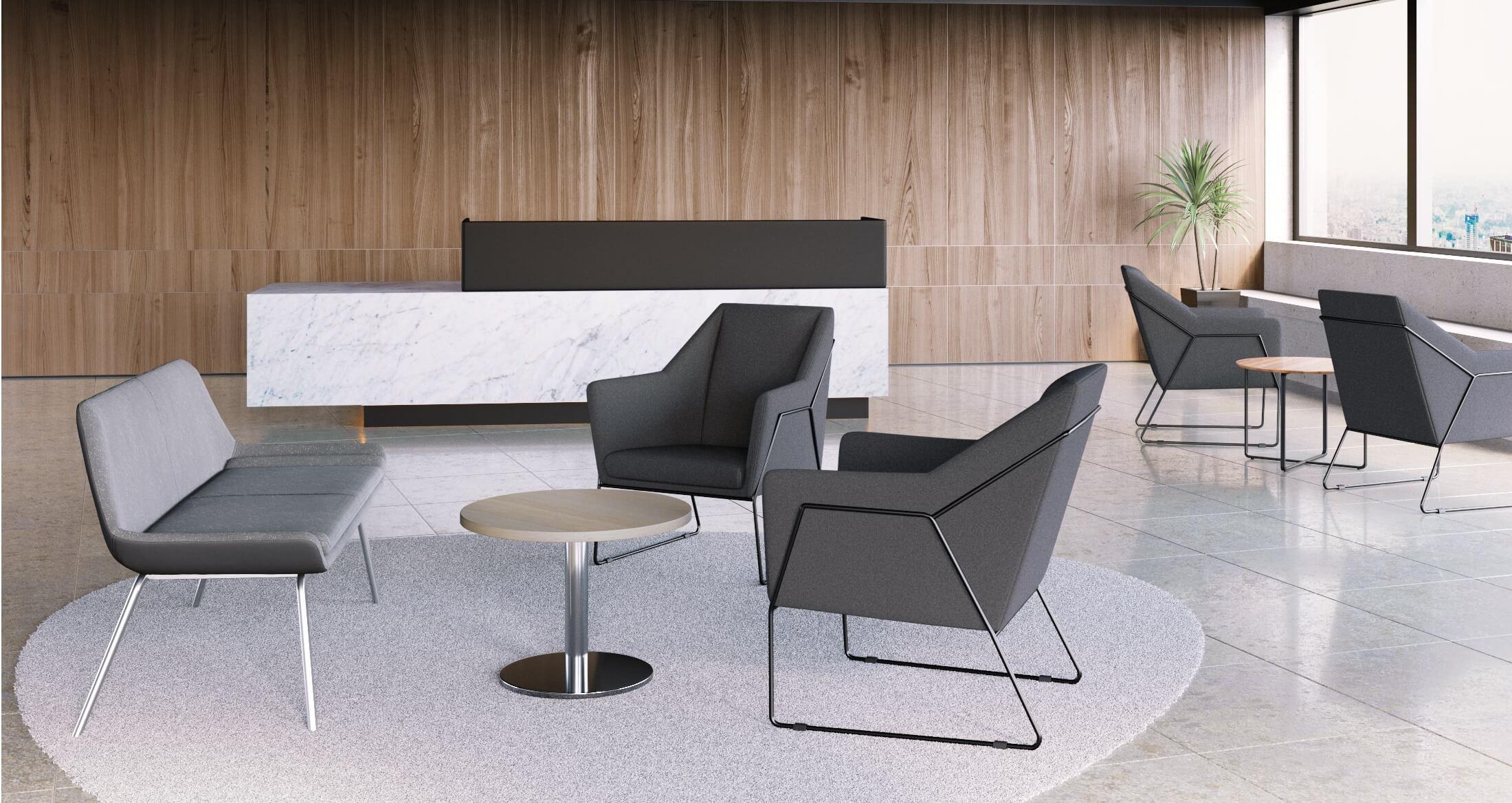 Scandis Reception Desk With Audo Reception Lounges