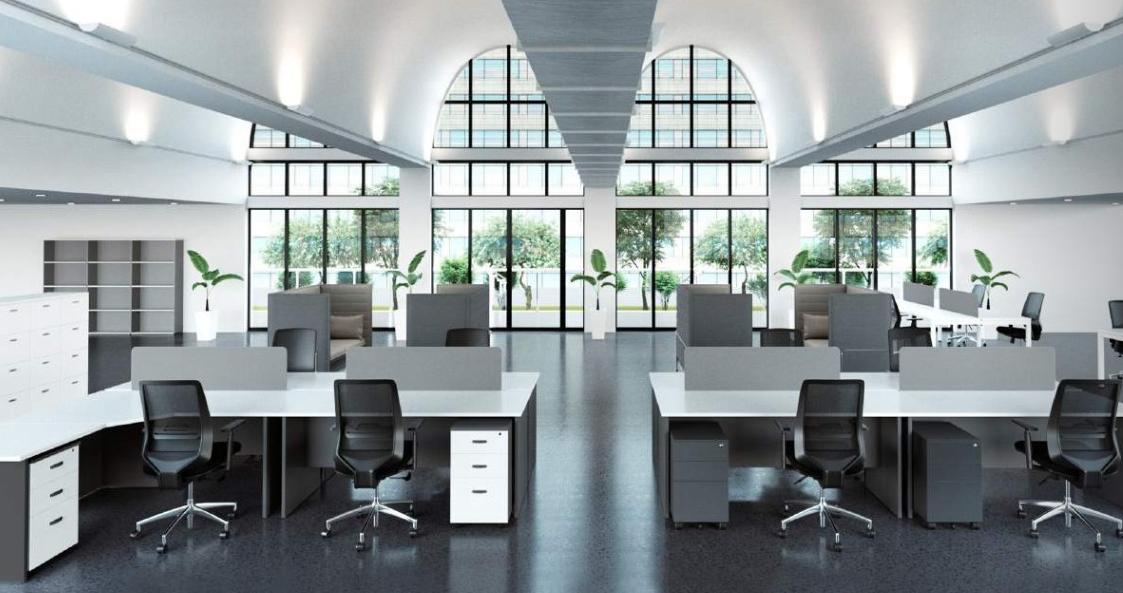 Slab End Desks With Screens